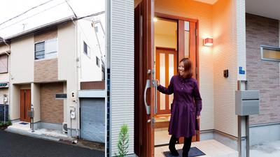 新しくなった外壁と玄関の写真です。